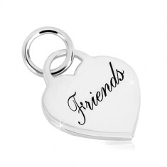 """925 silver pendant - heart lock with inscription """"Friends"""", glossy surface"""