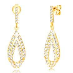 Yellow 9K gold earrings - drop contours with transparent zircons