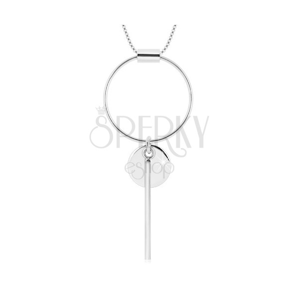 925 silver necklace - angular chain, circle contour, smaller circle and stick