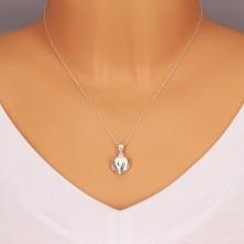 925 silver medallion - symmetric heart, fine engraving, feather motif