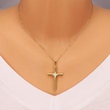 925 silver pendant - cross of gold colour, smaller cross in center, grain cuts