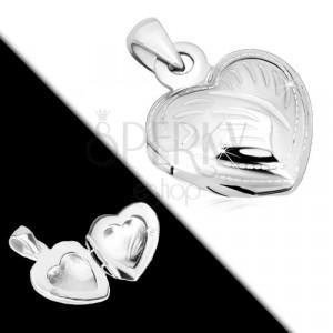 925 silver pendant - medallion, symmetric heart with decorative cuts