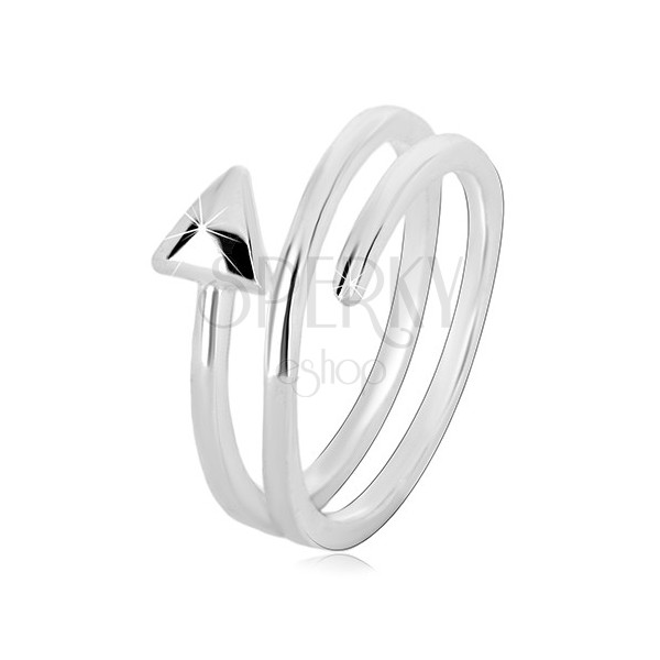 925 siver ring - narrow arrow curled into spiral, glossy surface