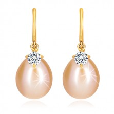 Yellow 14K gold diamant earrings - glossy arch, oval pearl and briliant