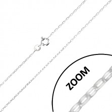 925 silver chain - wider oval rings, glossy surface, 1,4 mm