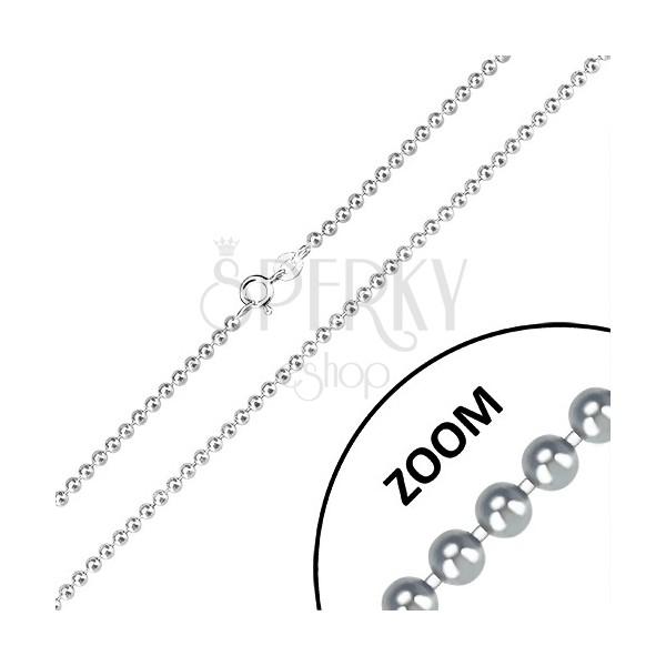 925 silver chain - glossy balls, army motif, 2,5 mm