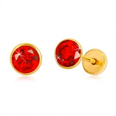 Yellow 585 gold earrings - round zircon of red hue, studs with screwback, 5 mm
