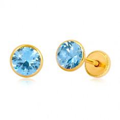 Yellow 14K gold earrings - sky-blue zircon in holder, studs with screwback, 5 mm