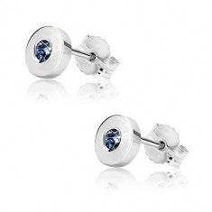 White 375 gold earrings - glossy circle with dark-blue sapphire, 5 mm