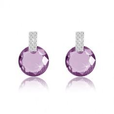 9K white gold earrings - zircon rectangle, round zircon of purple colour