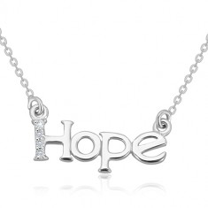"""925 silver necklace - glittery chain, inscription """"Hope"""" with diamond line"""