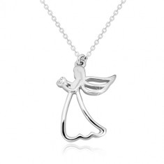 925 silver necklace - carved angel with heart, clear diamond