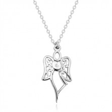 925 silver necklace - carved angel, heart with clear diamond