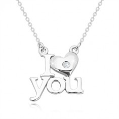 """Brilliant necklace, 925 silver, """"I heart you"""", chain of the oval rings"""