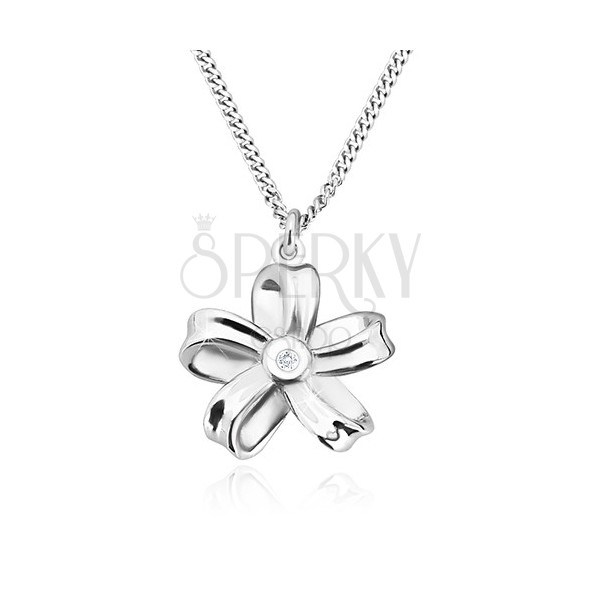925 silver necklace - glossy ribbon, flower with five petals and brilliant