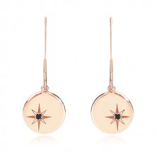 Black diamond - 925 silver earrings of pink-gold colour, glossy circle with Polaris