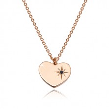 925 silver set of pink-gold colour - bracelet and necklace, heart with Polaris and diamond
