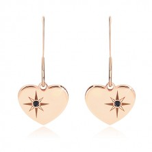 925 silver earrings, pink-gold hue - symmetric heart, north star, black diamond