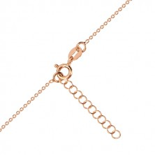 Set of pink-gold colour, 925 silver - earrings and necklace, heart with Polaris and diamond
