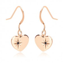 925 silver set, pink-gold hue - necklace and earrings, heart with Polaris and diamond