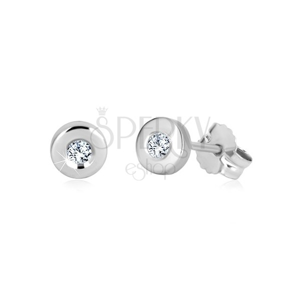 White 375 gold studs - glossy circle, clear zircon, 5 mm