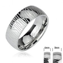 Stainless steel ring - zebra pattern