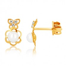 Yellow 375 gold earrings - flower contour with pearl, butterfly with zircons