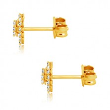 Yellow 9K gold earrings - transparent zircons, heart and heart contour