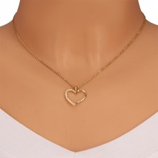 Yellow 14K gold pendant - contour of asymmetric heart, half of glittery zircon