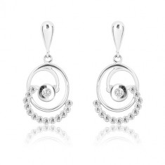 White 375 gold earrings - inverted drop, oval with round lines and zircons