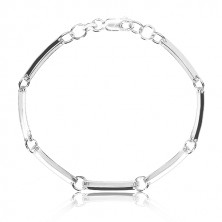 925 silver bracelet - narrow glossy links joined with circles
