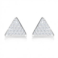 925 silver three-set - equilateral triangle with zircons, chain