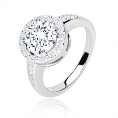 925 silver engagement ring - round zircon with glittery rim, glossy arms