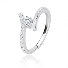 925 silver ring - glittery curved arms, clear round zircon in mount