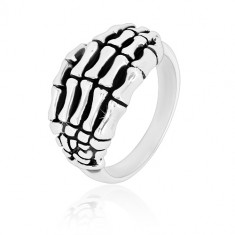 925 silver ring - hand skeleton shaped into details, glossy arms, patina