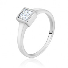 925 silver ring - narrow glossy arms, transparent zircon square