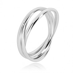 Triple 925 silver ring - narrow glossy ringlets that are interconnected with one another