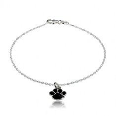 925 silver bracelet - black paw, glittery chain of oval rings