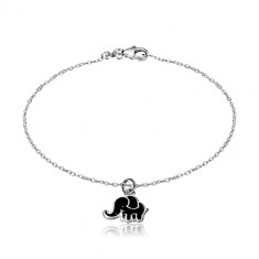 925 silver bracelet - glittery chain, elephant adorned with black glaze
