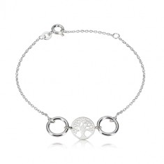 925 silver bracelet - carved circle with a life tree, two glossy circles