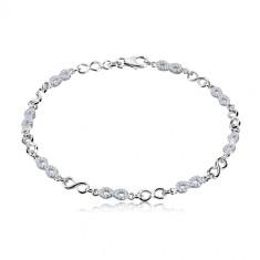 925 silver bracelet - symbols of infinity, lemniscates with zircons