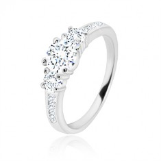 925 silver engagement ring - three round zircons, glossy arms with zircons