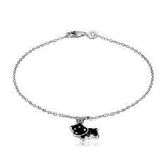 925 silver bracelet - pendant with motif of black hippo, glossy chain