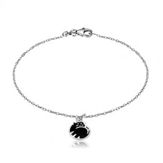 925 silver bracelet - cat curled up in a ball, glaze of black colour, glossy chain