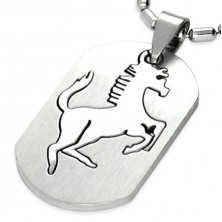 Pendant made of surgical steel in silver colour, cut horse