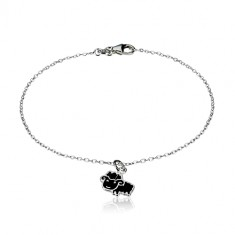 925 silver bracelet - glittery chain and sheep with a glaze of black colour