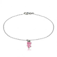 925 silver bracelet - teddy adorned with a glaze of pink colour, glossy chain