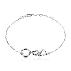 925 silver bracelet - two glossy hearts and a circle, smaller oval rings