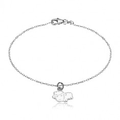 925 silver bracelet - glittery chain and a sheep with a glaze of white colour