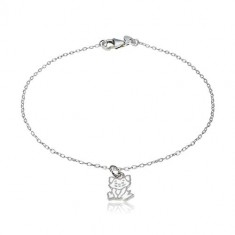 925 silver bracelet - pendant with a motif of a cat, glossy oval rings
